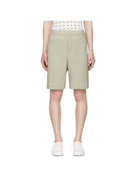Beige Pleated Shorts by Homme PlissÉ Issey Miyake