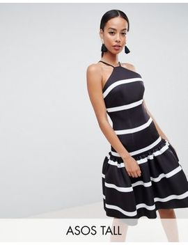 Asos Design Tall Stripe Scuba Drop Waist Midi Dress by Asos Design