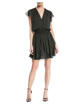 Chiffon Ruched Mini V Neck Dress by Halston Heritage