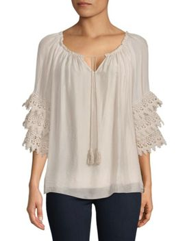 Layered Embroidered Silk Top by Tempo, Paris