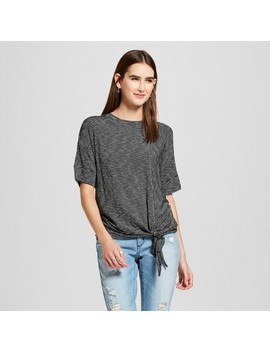 Women's Striped Short Sleeve Tie Front T Shirt   Mossimo™ Black/White by Mossimo