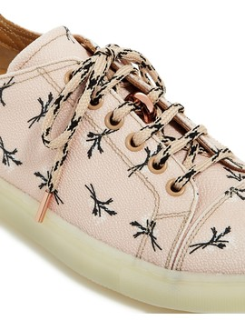 Women's Floral Print Leather Low Top Lace Up Sneakers   100 Percents Exclusive by Pairs In Paris