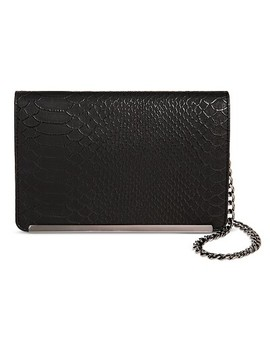 Women's Faux Leather Crossbody Handbag Lizard Design And Magnetic Closure Black   Mossimo™ by Mossimo