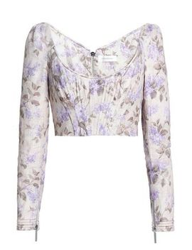 Stranded Cropped Floral Print Linen Bustier Top by Zimmermann