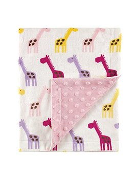 Hudson Baby Printed Mink Blanket With Dotted Backing, Pink Giraffe by Hudson Baby