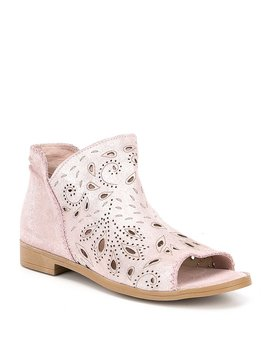 Jasper Laser Cut Peep Toe Booties by Coolway