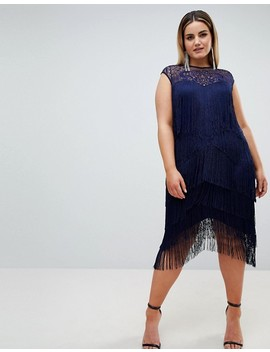 Asos Design Curve Fringe & Sequin Sheer Midi Dress by Asos Design