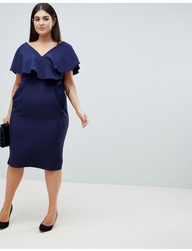 Asos Design Curve Ruffle Wrap Midi Dress by Asos Design