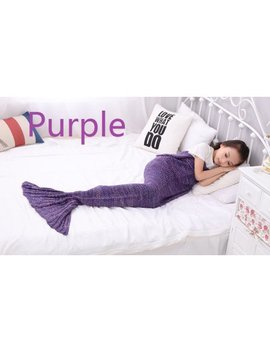 "G Living Mermaid Tail Blanket Office Blanket Mermaid Crochet Blanket For Kids Women All Season Little Girls Long Sleeping Mermaid Blanket 55.1""X27.6"" Purple by Peralng"