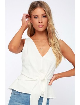 Landra White Sleeveless Tie Front Top by Adelyn Rae