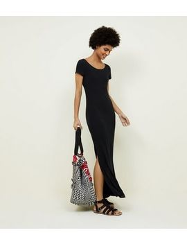 Black Ribbed Jersey Maxi Dress by New Look