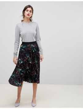 Liquorish Printed Pleated Midi Skirt by Liquorish