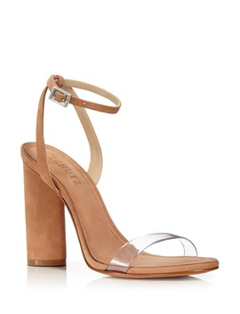 Women's Geisy Suede Illusion Ankle Strap Block Heel Sandals by Schutz