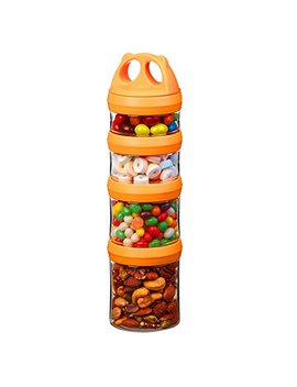 Seleware Portable And Stackable 4 Piece Twist Lock Panda Storage Jars Snack Container To Contain Formula, Snacks, Nuts, Drinks And More, Bpa And Phthalate Free, 31oz Orange by Seleware