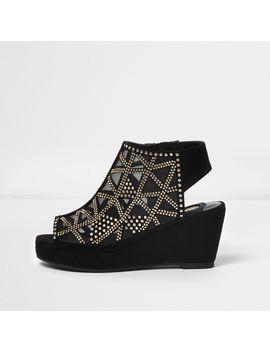 Girls Black Studded Peep Toe Wedge Heels by River Island