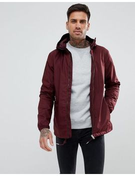 Pull&Bear Hooded Windbreaker Jacket In Burgundy by Pull&Bear