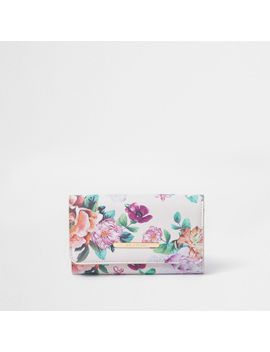 Girls Pink Floral Print Trifold Purse by River Island