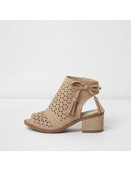 Girls Beige Laser Cut Tassel Shoe Boots by River Island