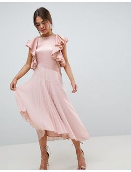 Asos Design Pleated Midi Dress With Ruffle Sleeve by Asos Design