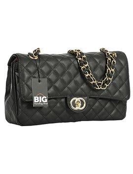 Big Handbag Shop Womens Quilted Twist Lock Shoulder Bag by Big Handbag Shop