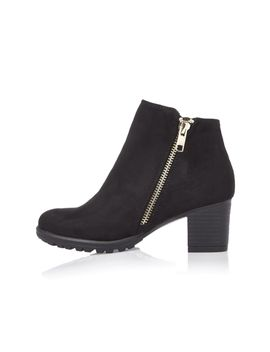 Girls Black Side Zip Ankle Boots by River Island