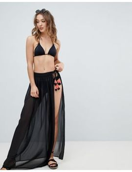 New Look Sheer Tassel Maxi Wrap Skirt by New Look