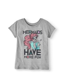 "Girls' ""Mermaids Have More Fun"" Glitter Graphic T Shirt by Little Mermaid"