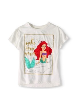 "Girls' 7 16 ""Make Some Waves"" Oversize Graphic T Shirt by Little Mermaid"