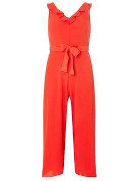 Red Ruffle Strap Culottes Jumpsiut by Dorothy Perkins
