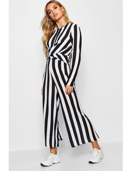 Yolana Monochrome Stripe Twist Front Jumpsuit by Boohoo