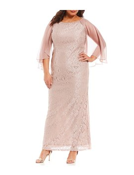 Ignite Evenings Plus Glitter Lace Capelet Gown by S.L. Fashions