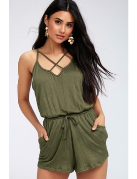Echo Olive Green Sleeveless Romper by Rd Style