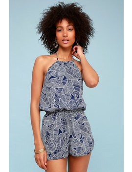 Tropical Retreat Blue And White Leaf Print Halter Romper by Lulus
