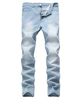Qazel Vorrlon Men's Blue Skinny Jeans Stretch Washed Slim Fit Straight Pencil Pants by Qazel Vorrlon