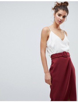 Asos Design Wrap Front Midi Skirt With Self Belt by Asos Design
