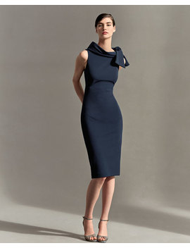 Sleeveless Tie Neck Cocktail Dress, Navy by Badgley Mischka