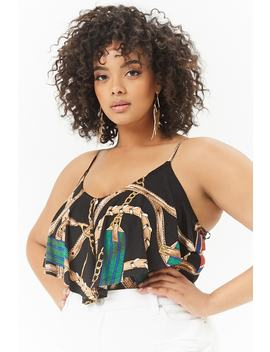 Plus Size Bridles & Reins Print Cami Bodysuit by Forever 21