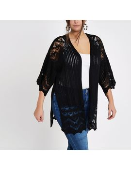 Plus Black Knitted Crochet Cardigan by River Island