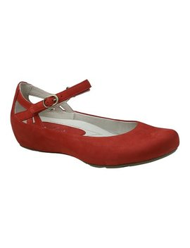 Bright Red Capri Suede Ballet Flat   Women by Earthies