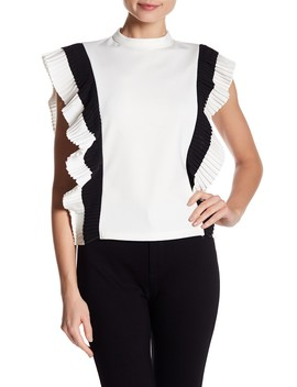 Pleated Ruffled Side Top by Gracia