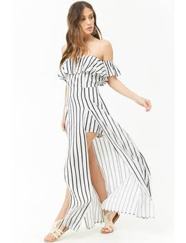 Striped Off The Shoulder Maxi Skort Romper by Forever 21