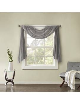 Madison Park Kaylee Solid Lightweight Crushed Sheer Curtain Scarf by Madison Park