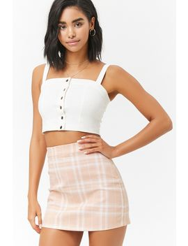 Stretch Denim Check Mini Skirt by Forever 21