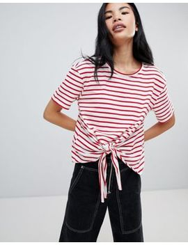 Pull&Bear Tie Front T Shirt In Red Stripe by Pull&Bear