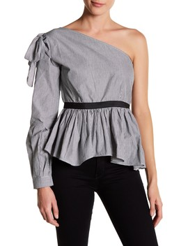Gracie Pinstripe One Shoulder Blouse by W118 By Walter Baker