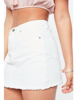 Petite White Clean Frayed Hem Denim Skirt by Missguided
