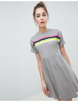Asos Design Mini Smock Dress With Rainbow Tipping by Asos Design