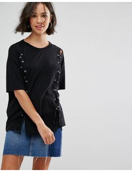 Pull&Bear Lace Up Front T Shirt by Pull&Bear