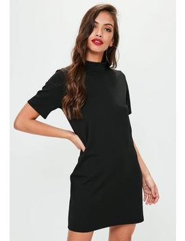 Black High Neck Scuba Dress by Missguided