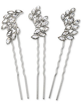 Silver Tone 3 Pc. Set Crystal Hair Pins by Jewel Badgley Mischka